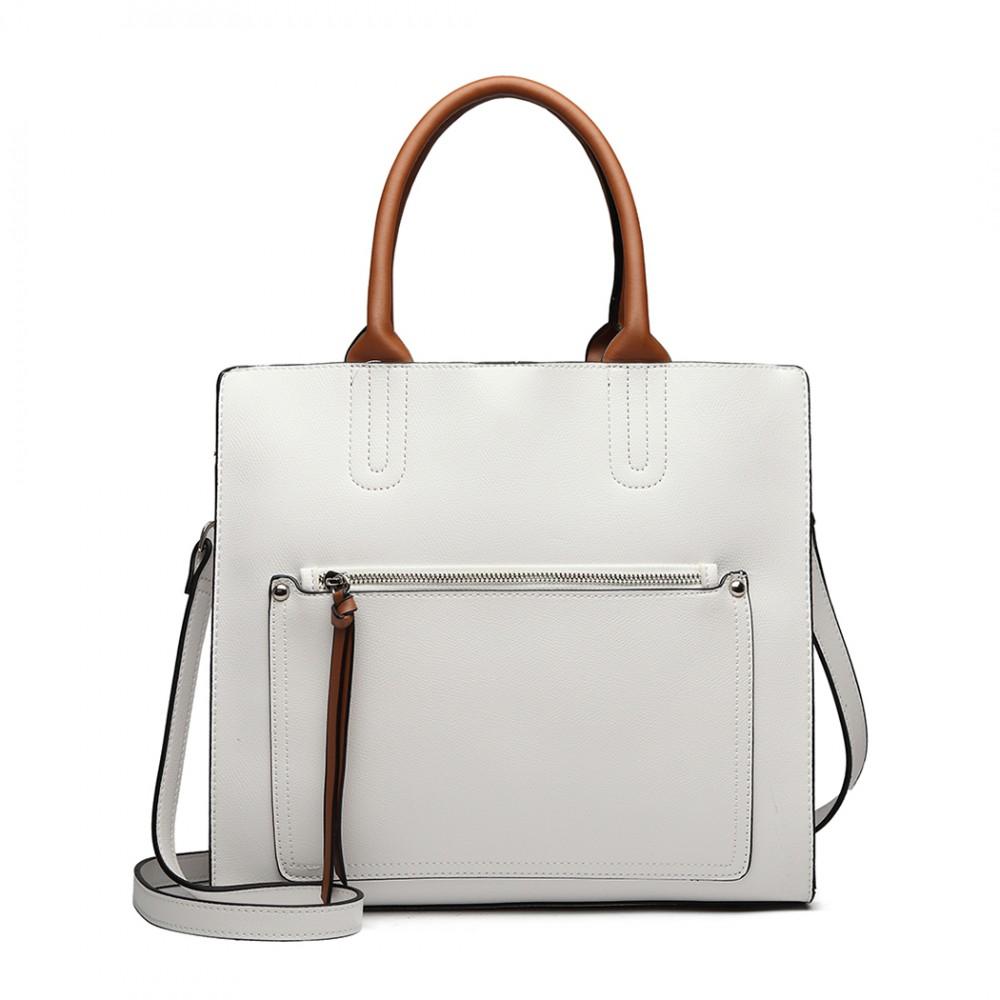 Bílá dámská elegantní kabelka Miss Lulu s čelní kapsou