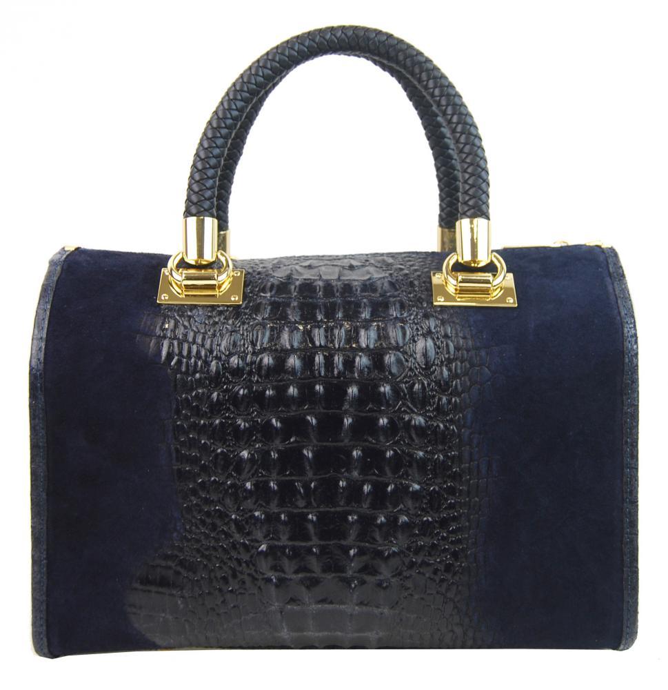 Kožená dámska kabelka Marianne tmavo modrá