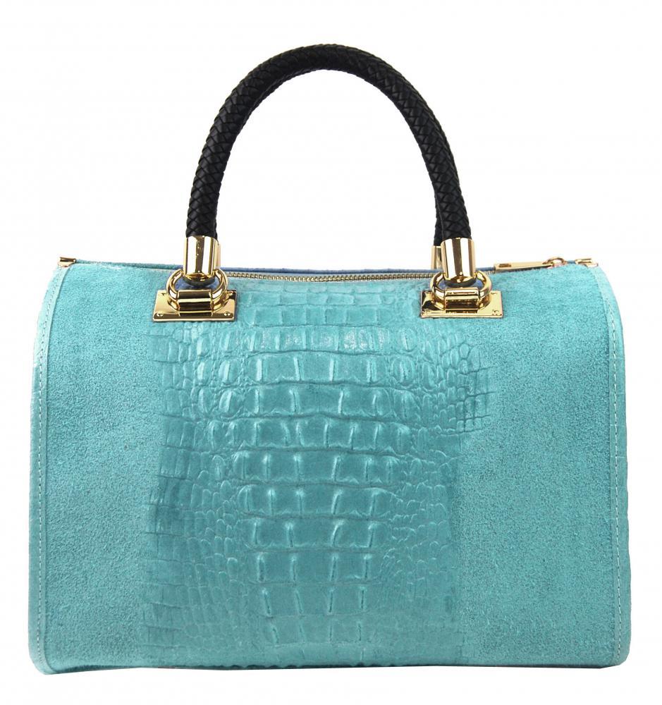 Kožená dámska kabelka Marianne tyrkysová modrá