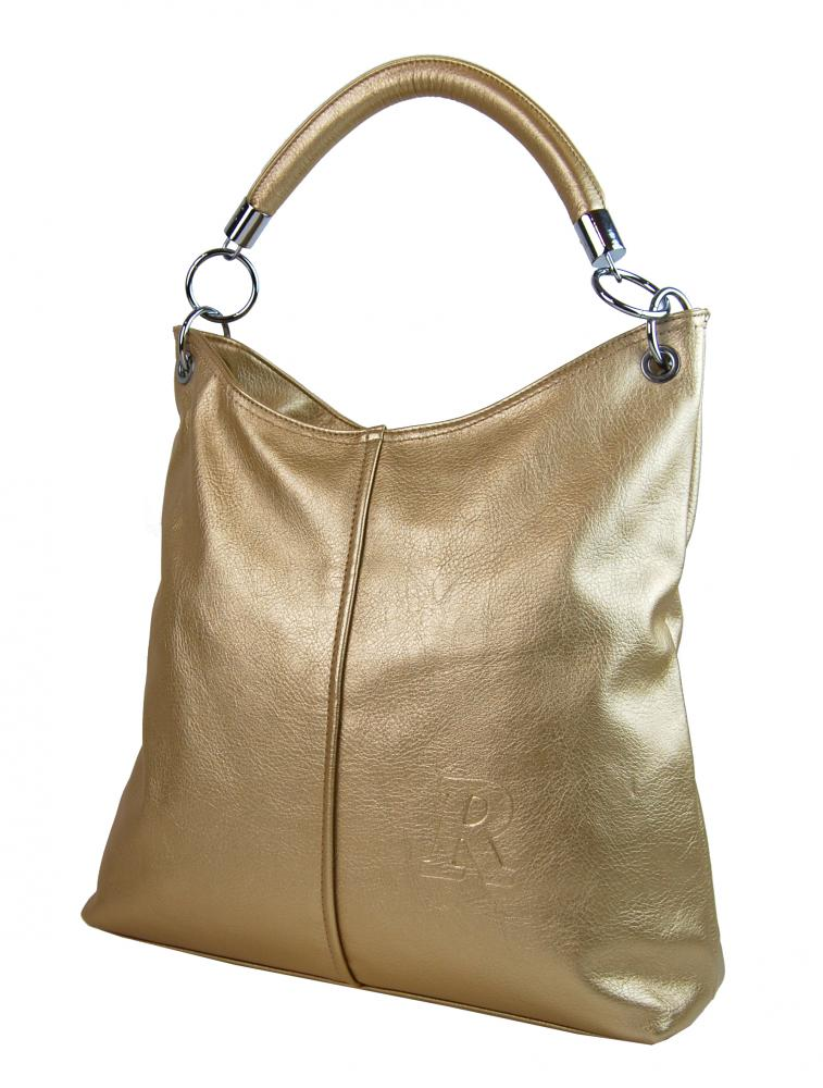 Moderní velká kabelka přes rameno 54-MH zlatá