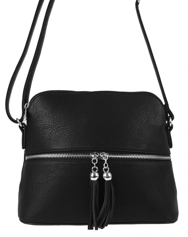 Malá crossbody kabelka so strieborným zipsom NH6021 čierna
