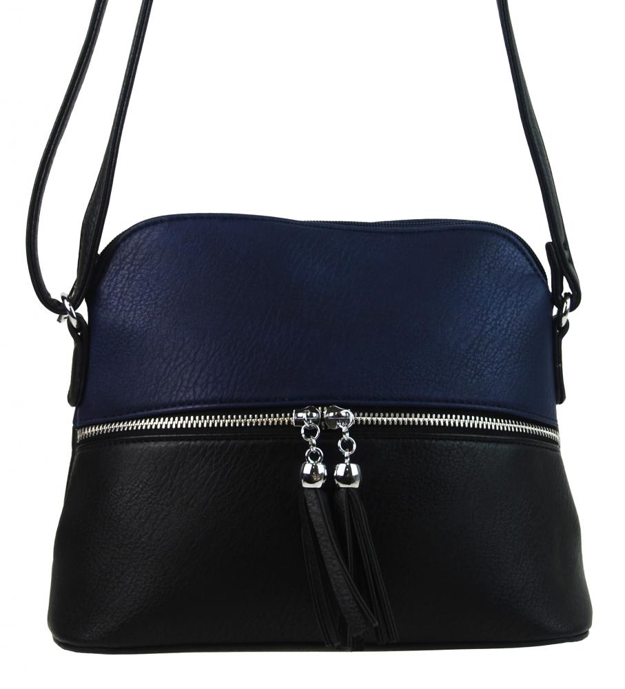 Malá crossbody kabelka se stříbrným zipem NH6021 modrá