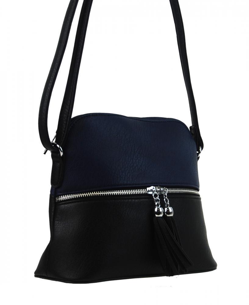 Malá crossbody kabelka so strieborným zipsom NH6021 modrá