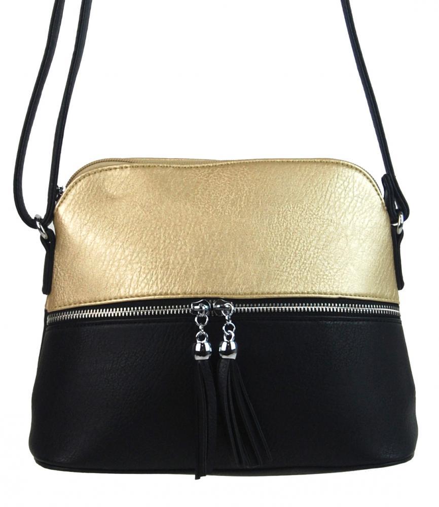 Malá crossbody kabelka so strieborným zipsom NH6021 zlatá