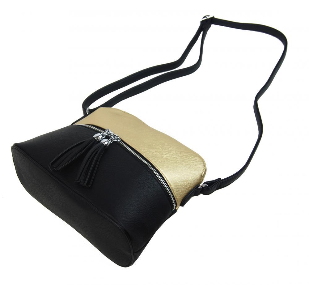 Malá crossbody kabelka se stříbrným zipem NH6021 zlatá