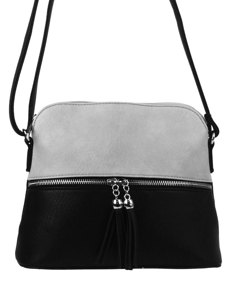 Malá crossbody kabelka so strieborným zipsom NH6021 šedá