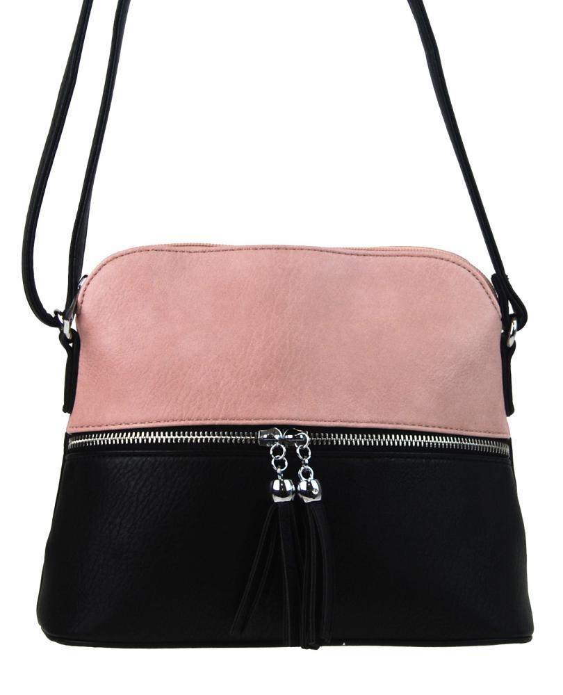 NEW BERRY Dámská crossbody kabelka malá černo-růžová