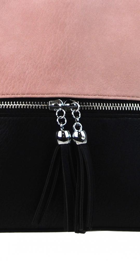 Malá crossbody kabelka so strieborným zipsom NH6021 ružová