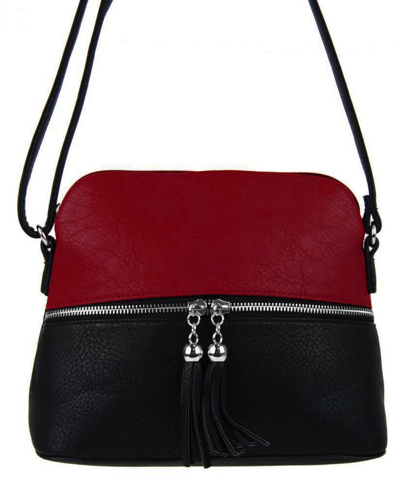 Malá crossbody kabelka so strieborným zipsom NH6021 červená