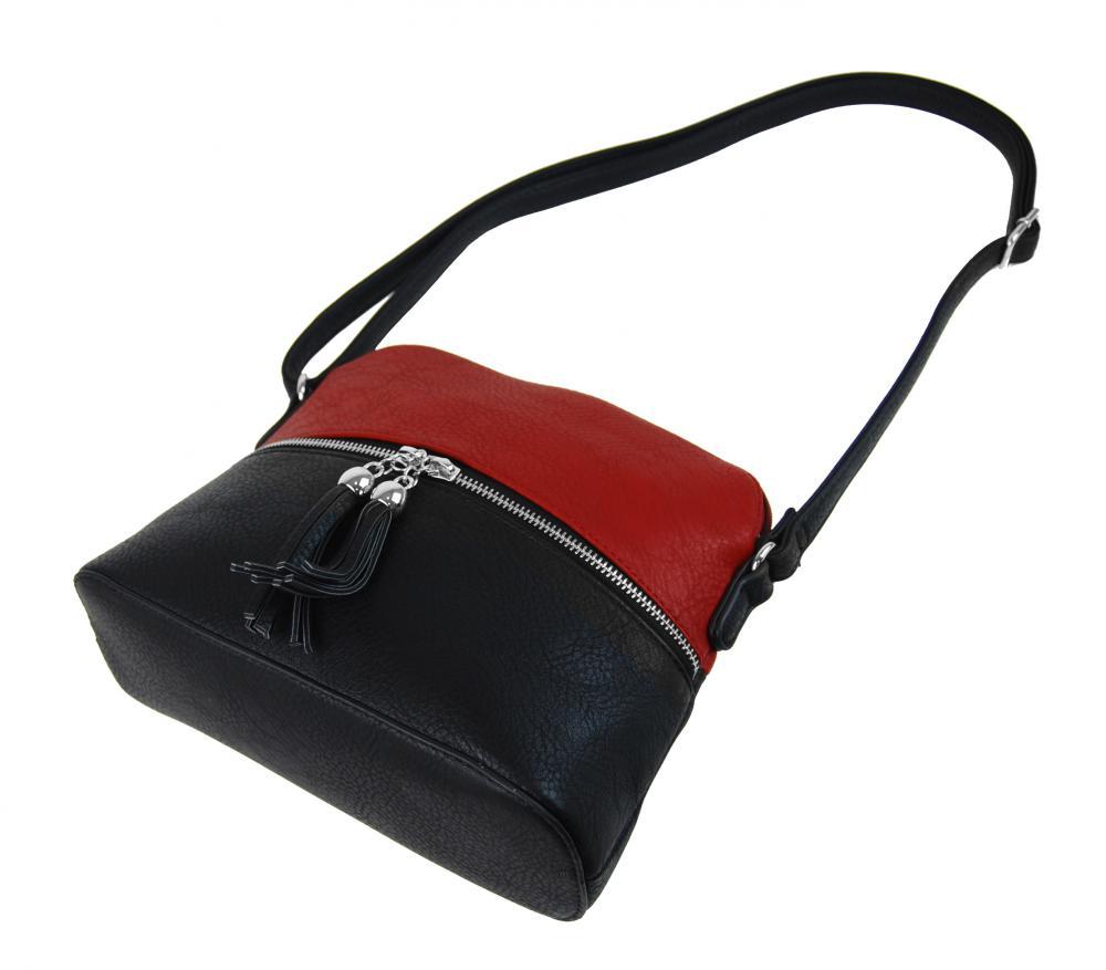 Malá crossbody kabelka se stříbrným zipem NH6021 červená