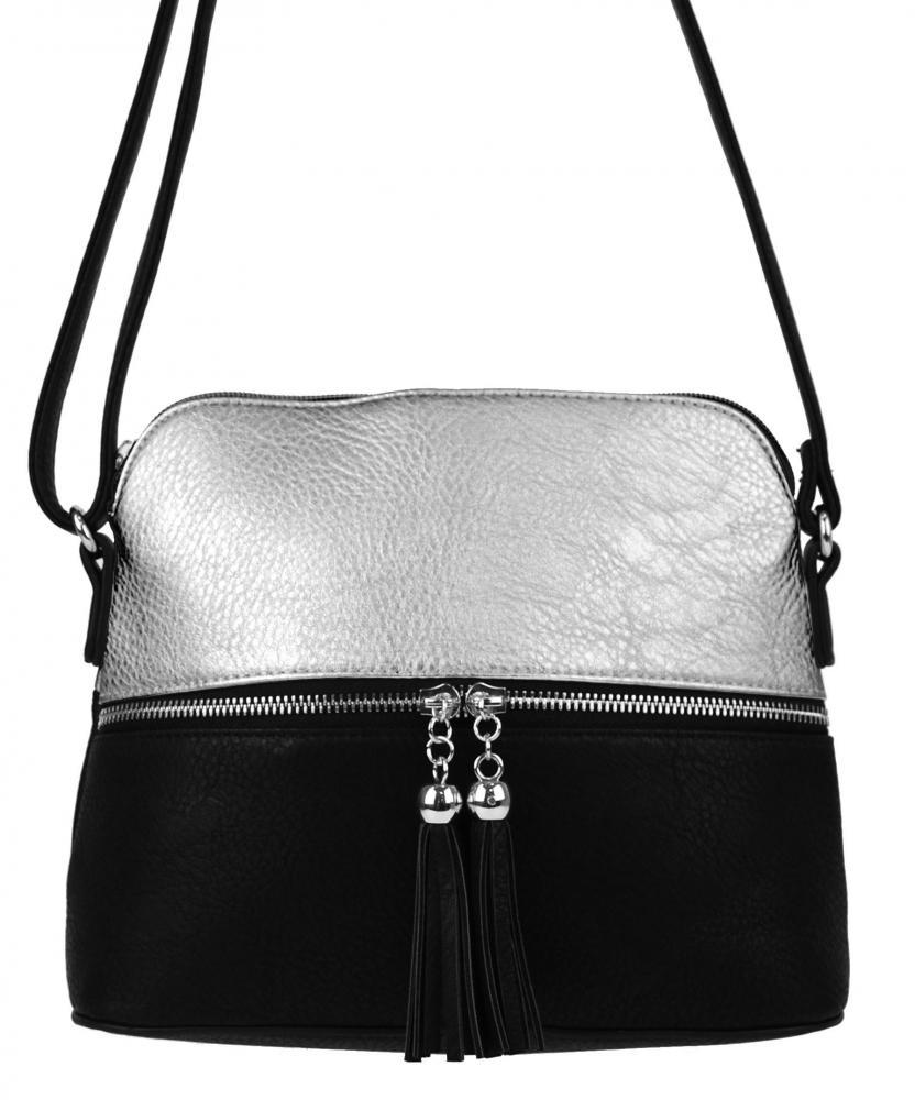 Malá crossbody kabelka so strieborným zipsom NH6021 strieborná