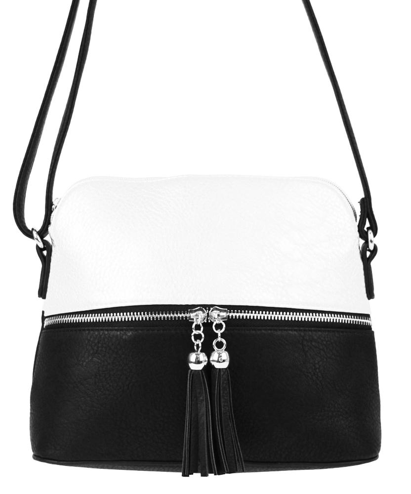Malá crossbody kabelka so strieborným zipsom NH6021 čierno-biela