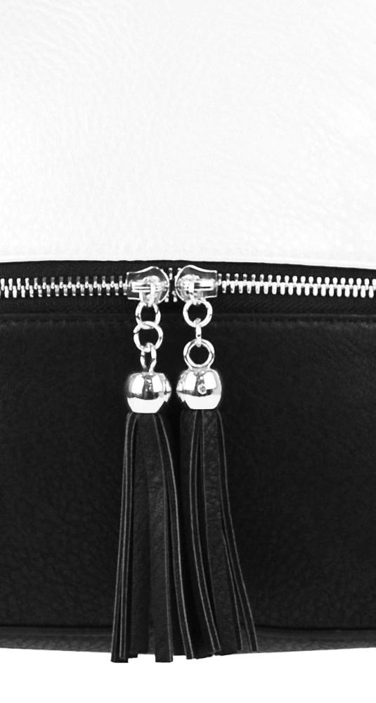 Malá crossbody kabelka se stříbrným zipem NH6021 černo-bílá