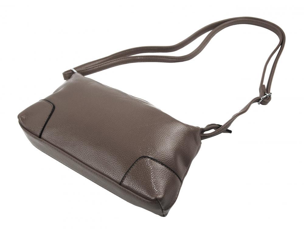 Podélná menší dámská crossbody kabelka H0515 šedohnědá