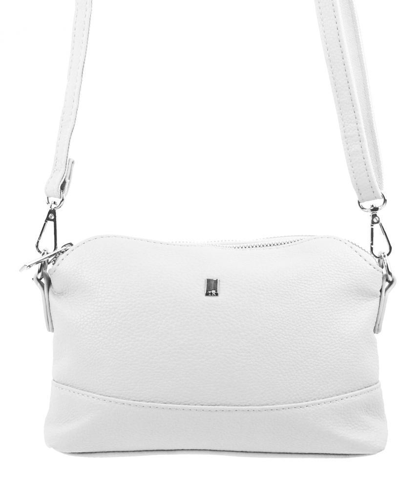 Bílá malá podlouhlá crossbody dámská kabelka 5413-BB
