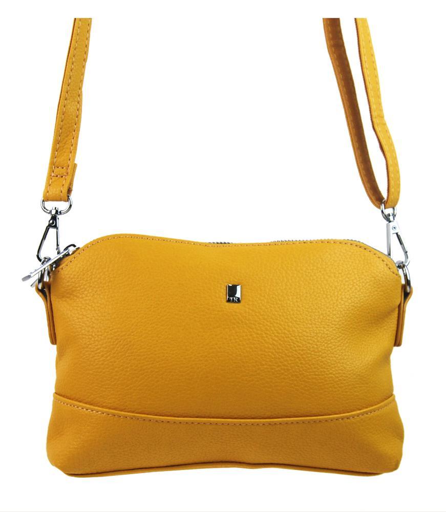 Žlutá malá podlouhlá crossbody dámská kabelka 5413-BB
