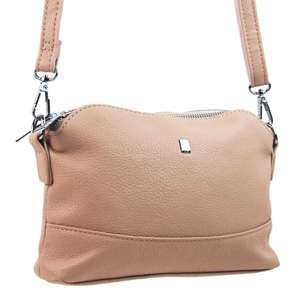 Růžová crossbody dámská kabelka se třemi oddíly 5414-BB
