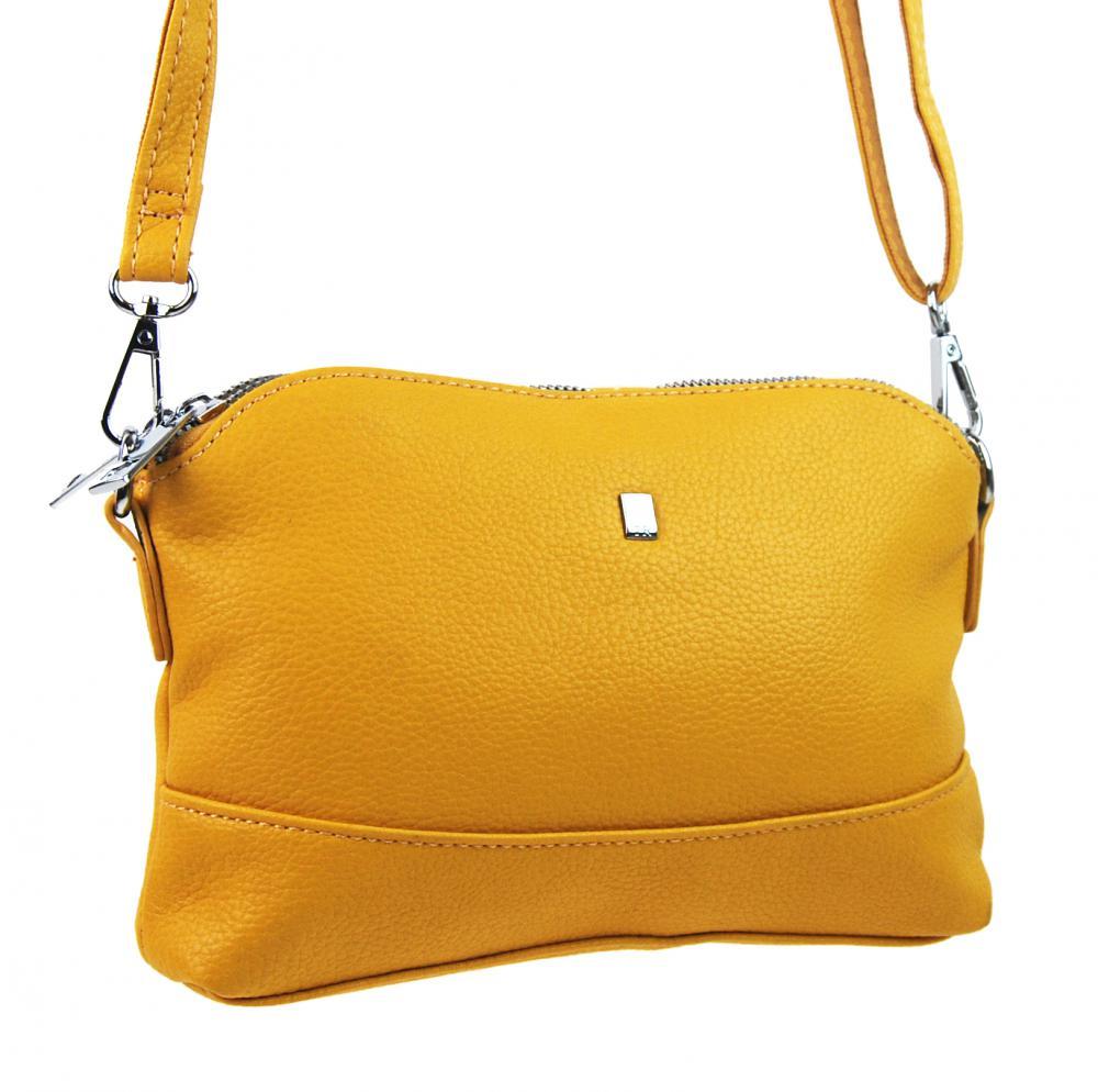 Žlutá crossbody dámská kabelka se třemi oddíly 5414-BB