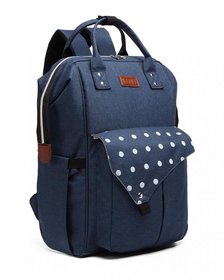 KONO Modrý materský batoh s bodkami a USB vhodný aj na kočík