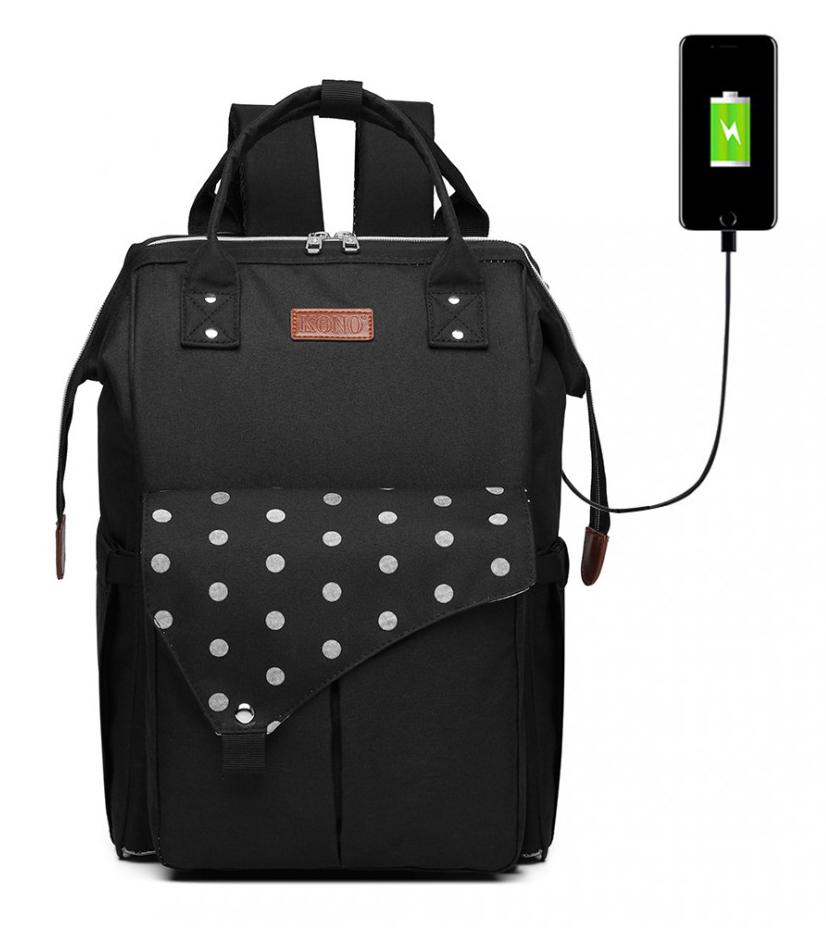 KONO Čierny materský batoh s bodkami a USB vhodný aj na kočík
