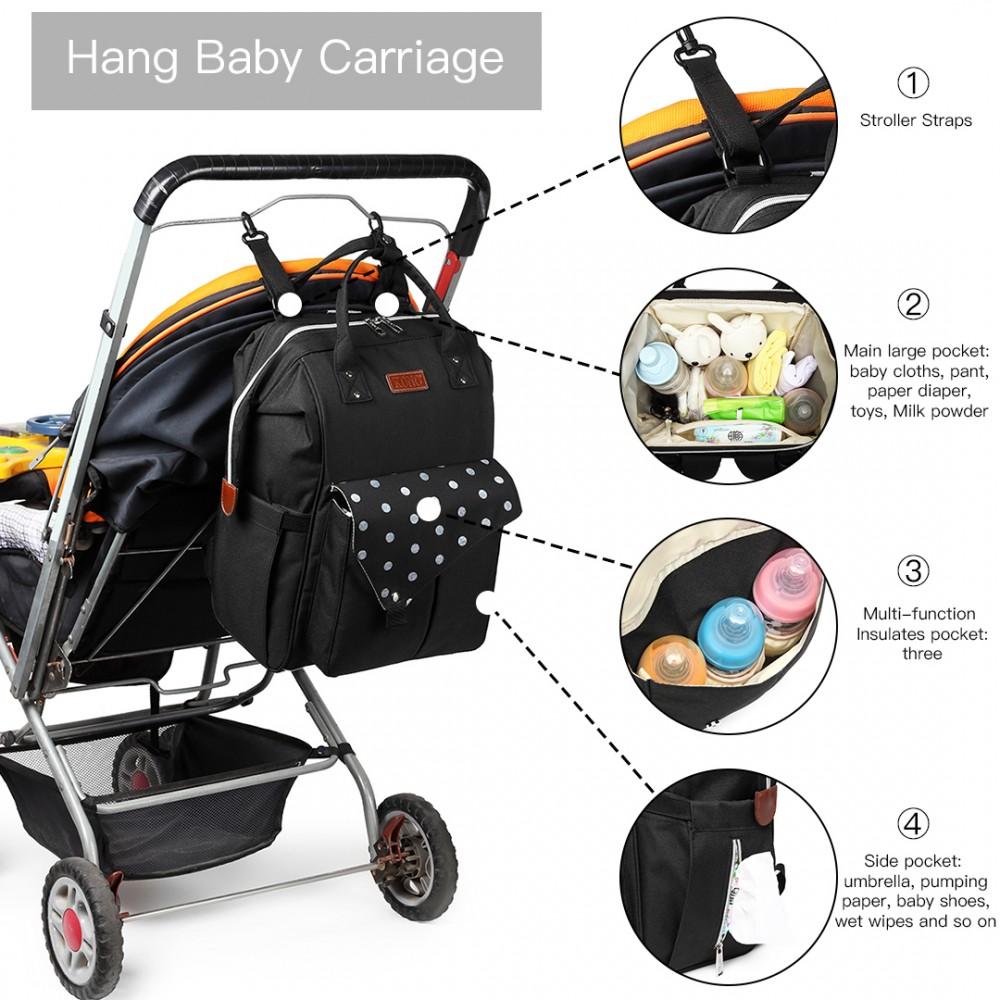 KONO Černý mateřský batoh s puntíky a USB vhodný i na kočárek