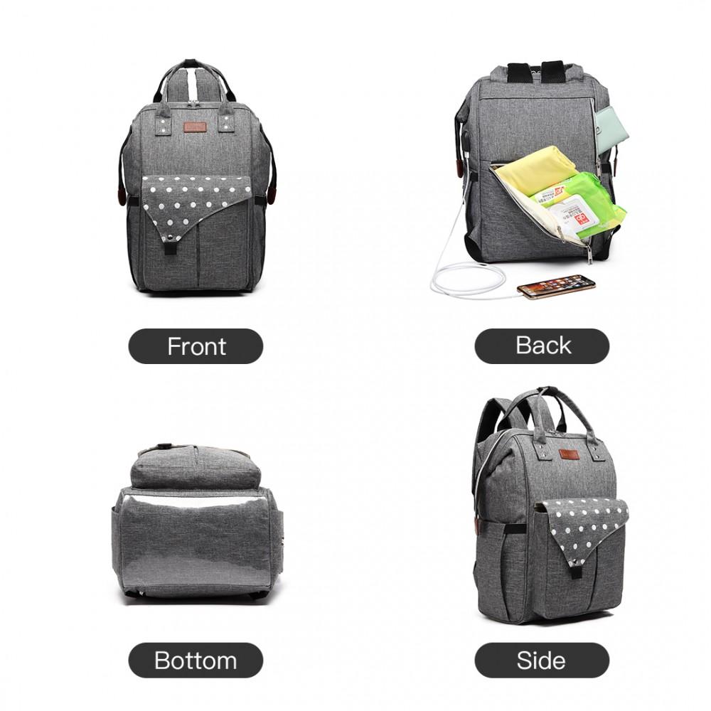 KONO Šedý mateřský batoh s puntíky a USB vhodný i na kočárek