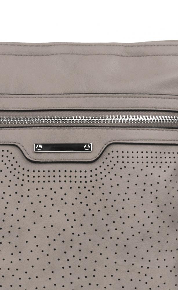 Šedo-hnědá menší elegantní dámská crossbody kabelka 1735-BB