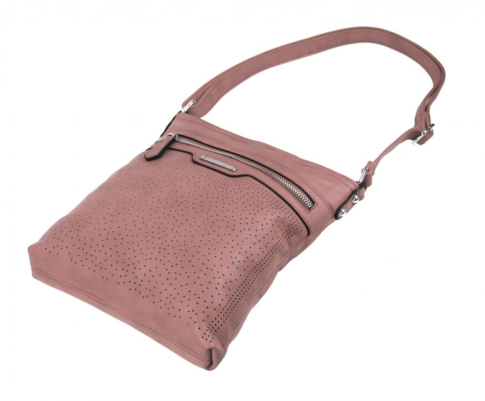 Růžová menší elegantní dámská crossbody kabelka 1735-BB