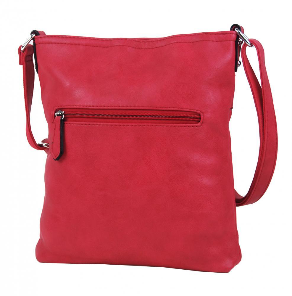 Červená menší elegantní dámská crossbody kabelka 1735-BB