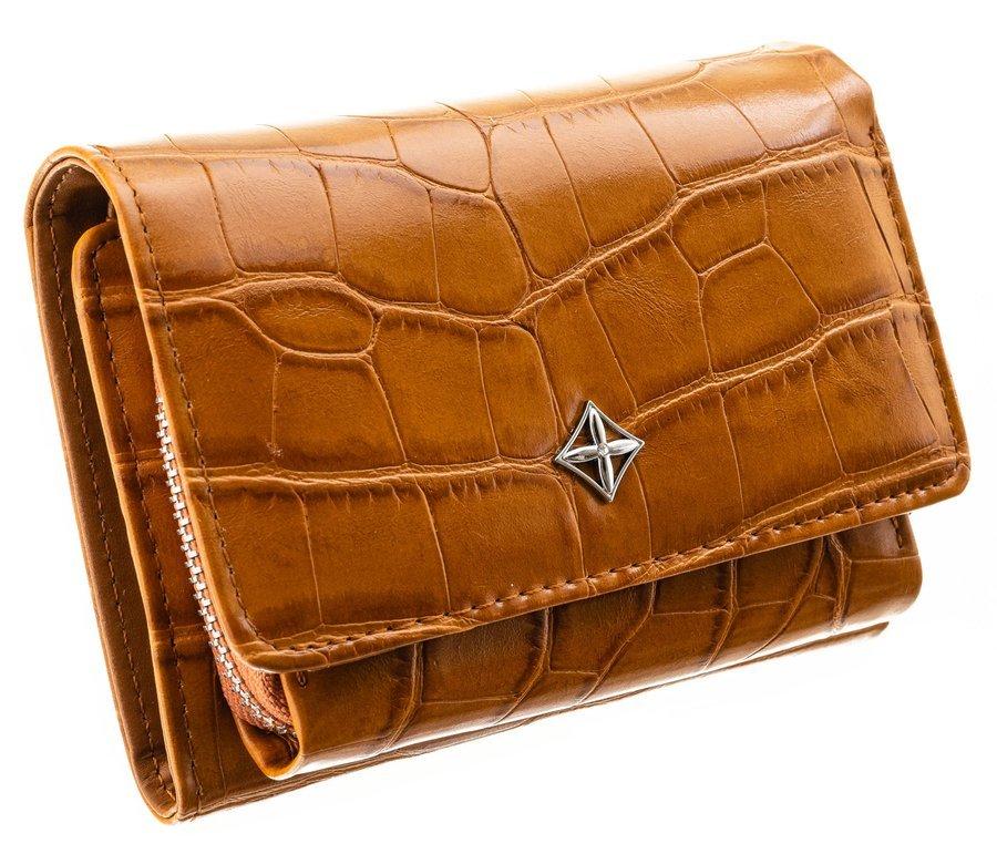Camel hnedá menšia dámska kroko peňaženka v darčekovej krabičke MILANO DESIGN