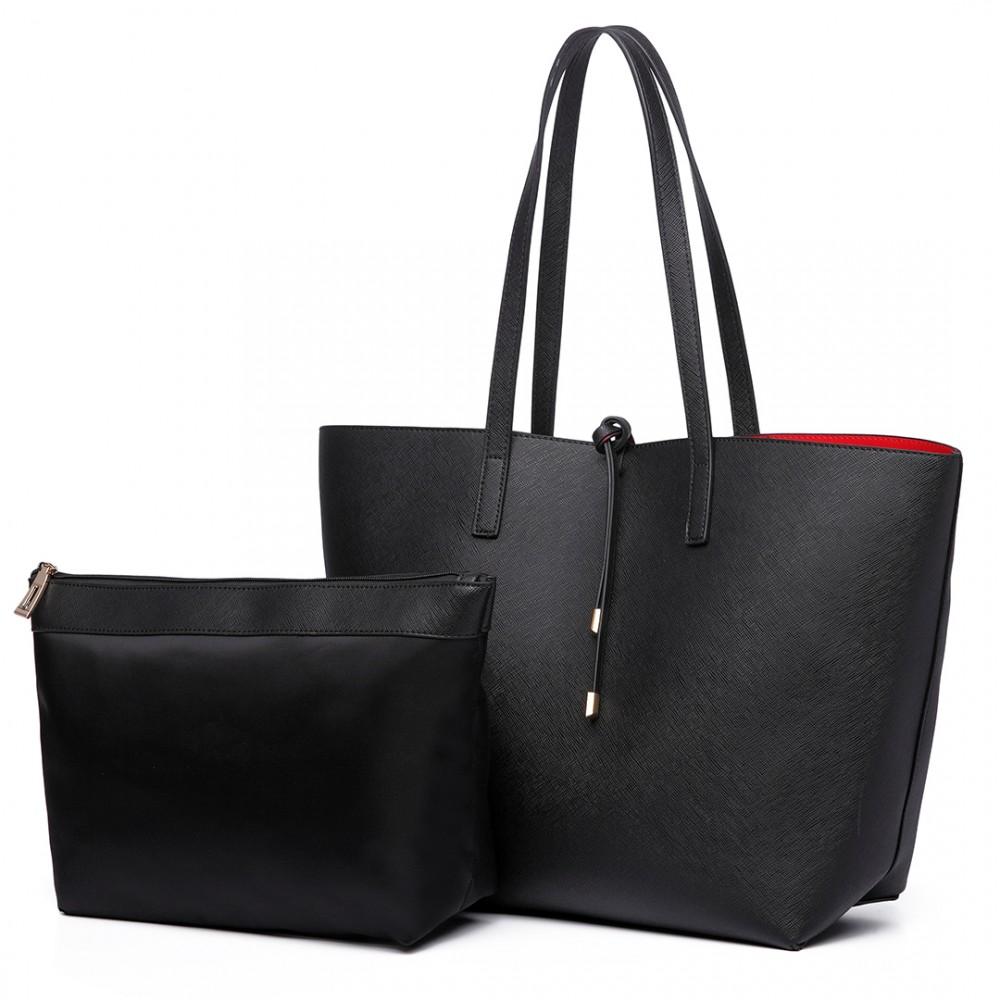 Černo-červená oboustranná dámská kabelka přes rameno Miss Lulu
