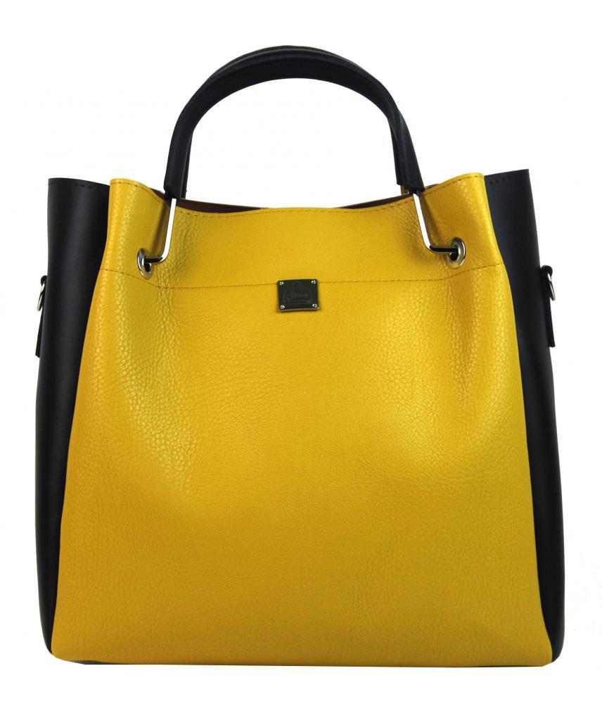 Žluto-hnědá elegantní dámská kabelka S728 GROSSO