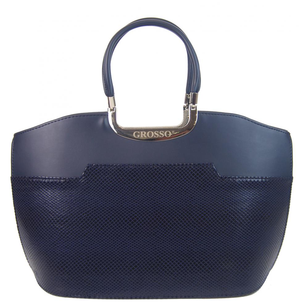 Modrá matná kabelka v lesklej hadej koži S5 GROSSO