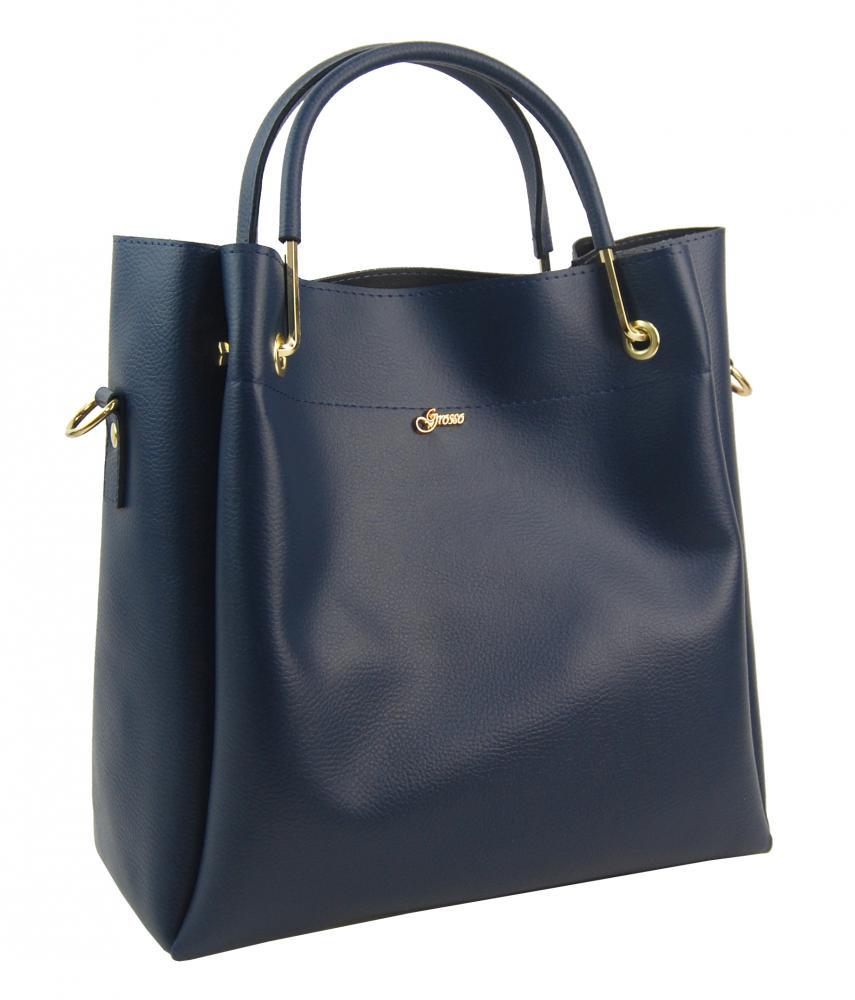 GROSSO Tmavě modrá luxusní kabelka do ruky S728