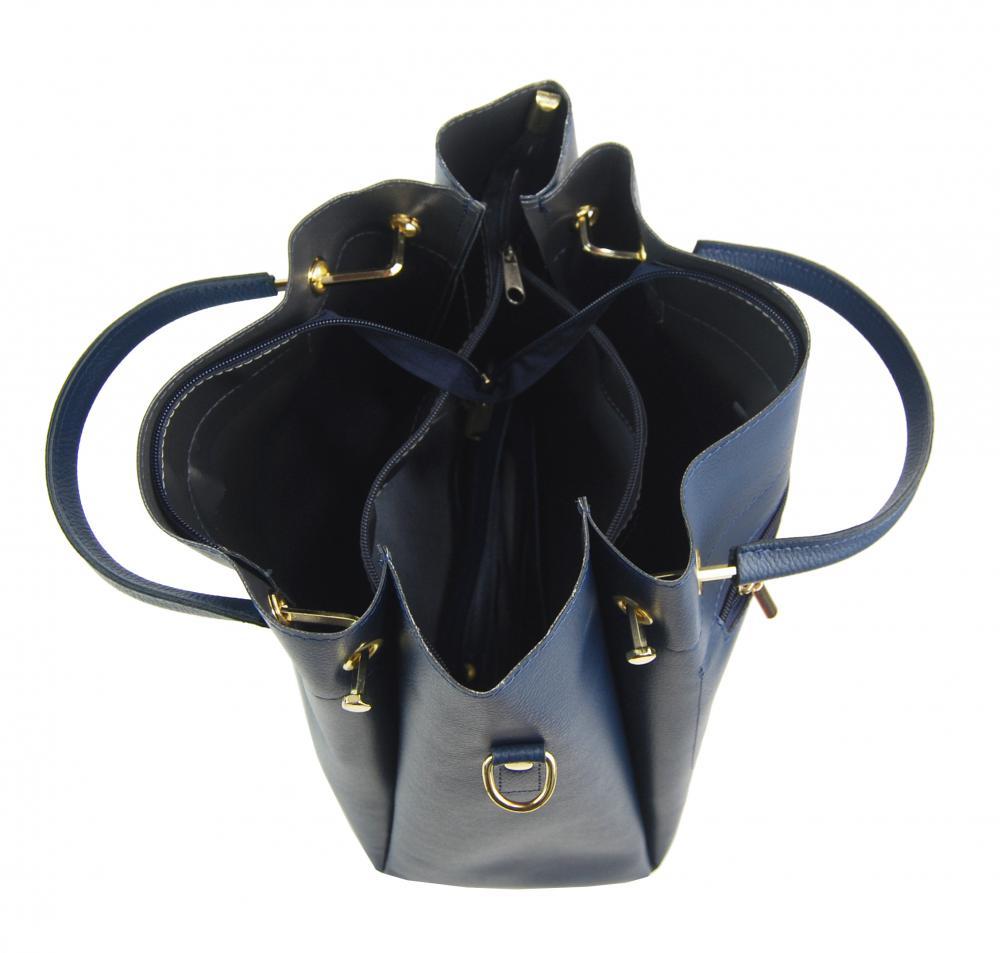 Modrá elegantní dámská kabelka S728 GROSSO
