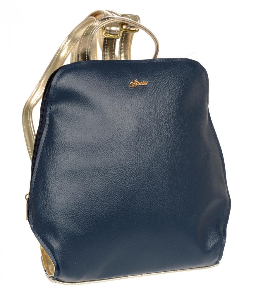 Elegantní dámský módní batůžek modro-zlatý B04 GROSSO