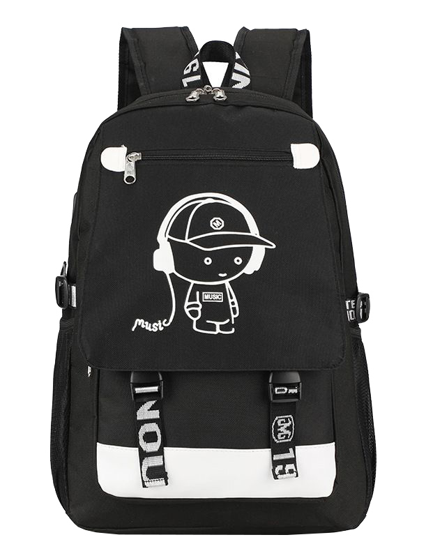 Music svítící černý studentský batoh s USB a audio portem