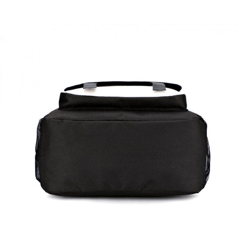 Music svietiaci čierny študentský batoh s USB a audio portom