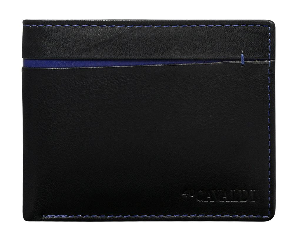Cavaldi černo-modrá pánská kožená peněženka