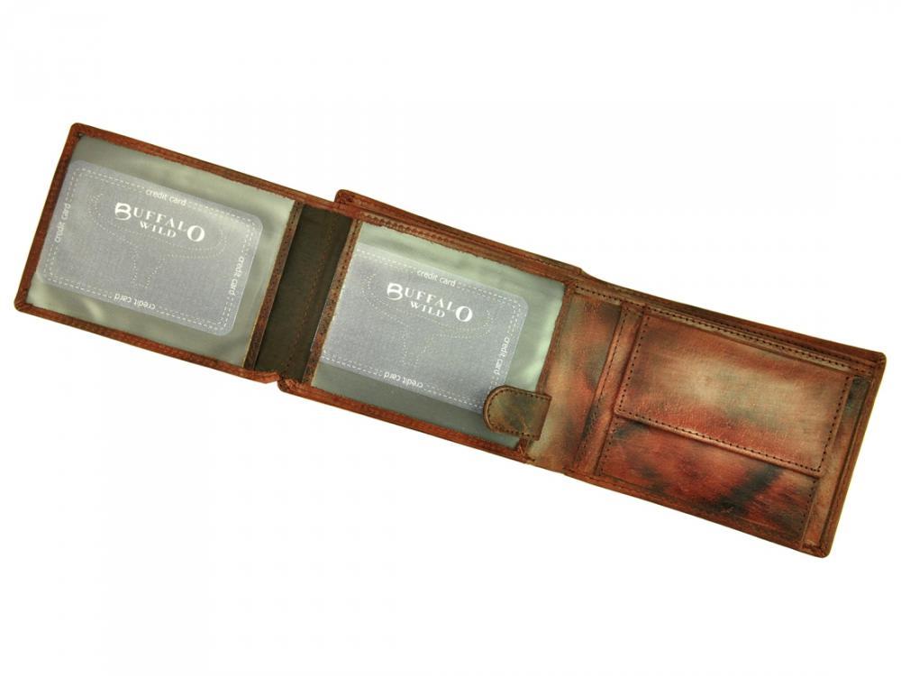 Kožená pánska peňaženka gaštanová hnedá v krabičke WILD