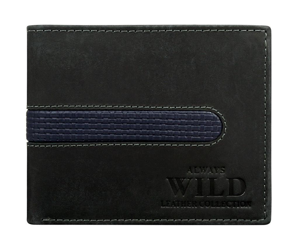 Černo-modrá pánská broušená kožená peněženka v krabičce WILD