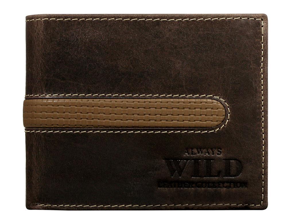 Hnedá pánska brúsená kožená peňaženka v krabičke WILD