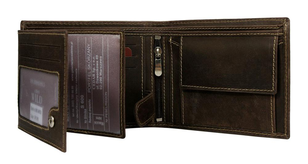 Hnědá pánská broušená kožená peněženka v krabičce WILD