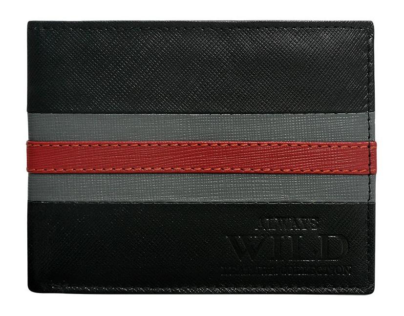Pánska kožená peňaženka čierno-červená v krabičke WILD