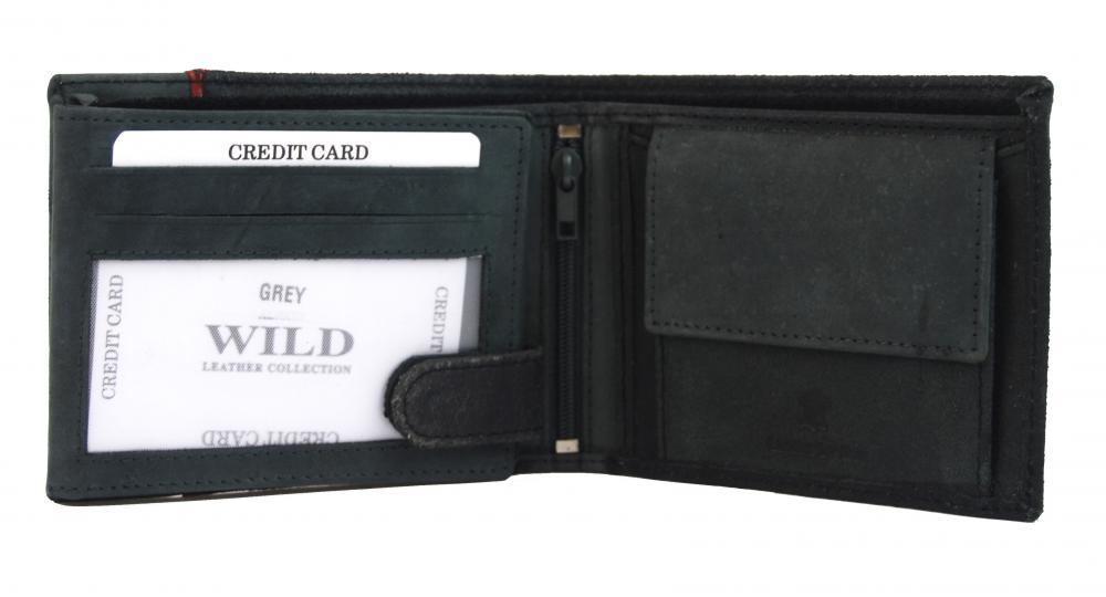 Sivá pánska kožená brúsená peňaženka v krabičke WILD