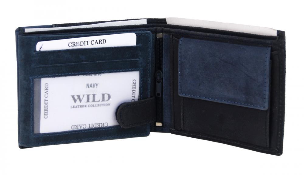 Modrá pánska kožená brúsená peňaženka v krabičke WILD