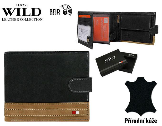 Čierno-hnedá pánska kožená peňaženka RFID v krabičke WILD