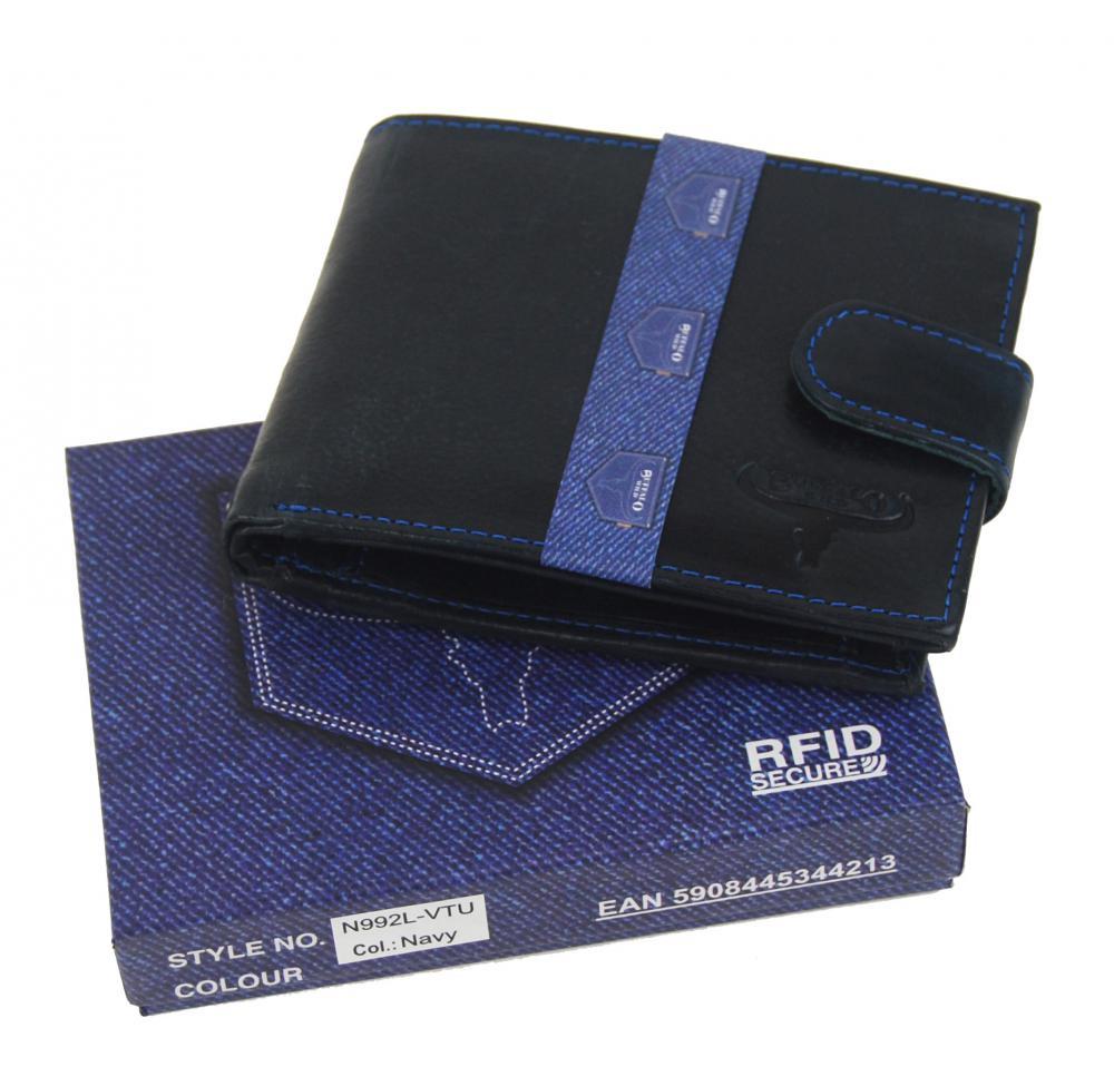 Modrá pánska kožená peňaženka RFID v krabičke WILD