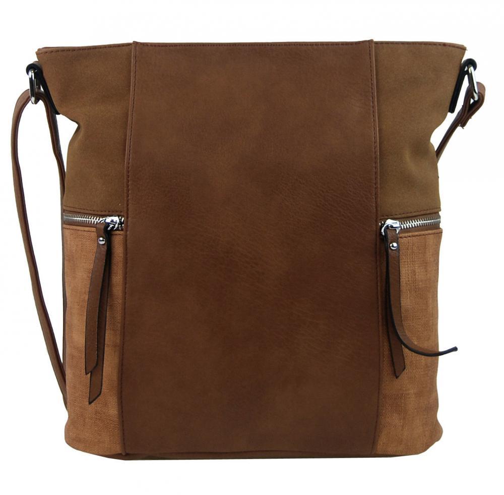 Tmavě hnědá dámská crossbody kabelka s bočními kapsami AE-9025
