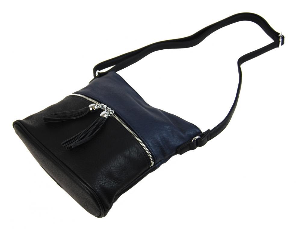 Malá crossbody kabelka so strieborným zipsom NH 6020 čierno-modrá